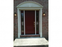 Homecraft-ProVia-Entry Door with Sidelites and Circle Top Fypon and Pillasters
