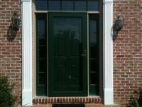 Homecraft-ProVia-Entry Door with Sidelites, Transom, Storm Door, Crosshead Pediment and Pillasters